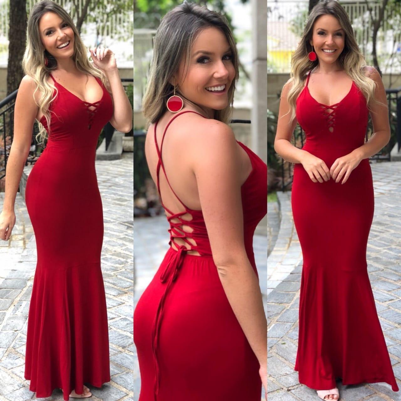 Vestido longo sereia trançado vermelho