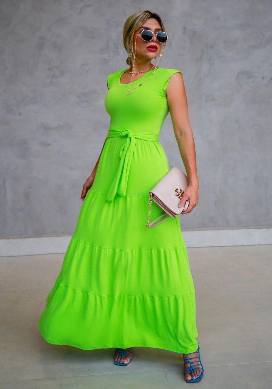 Vestido Longo Verde Neon