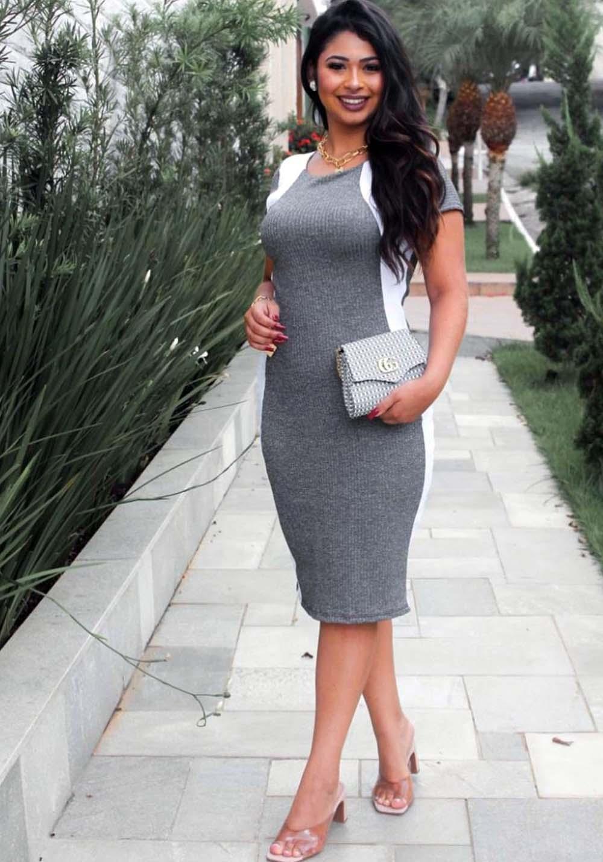 Vestido Midi Afina Cintura Cinza e Branco