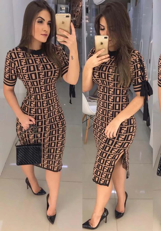 Vestido Midi Fendi Inspired em Tricot