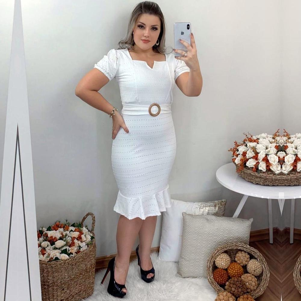 Vestido Midi Peplum com Cinto Branco