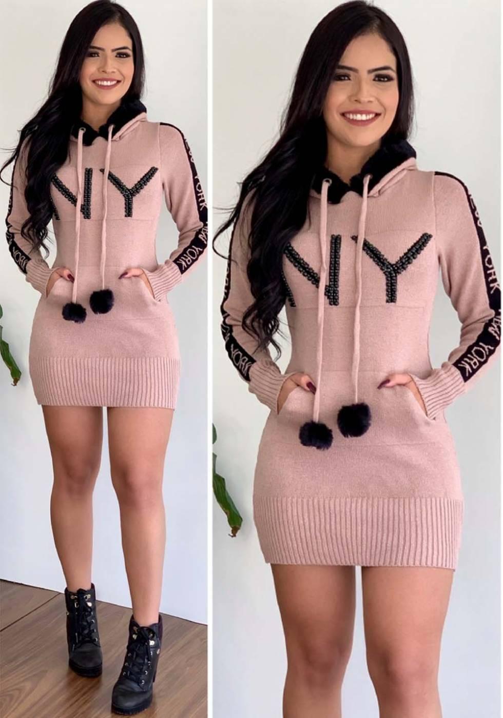 Vestido Mini Vest New York com Capuz em Tricot Rosê