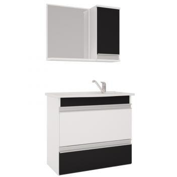 Armario C/Espelheira Grecia 65x60 - Branco/Preto