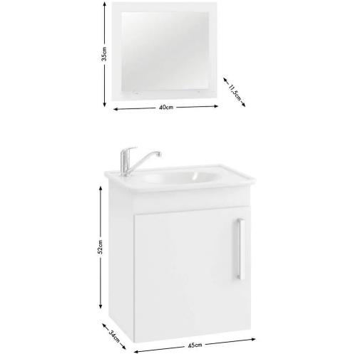 Armario C/Espelheira Viena 42x50 - Branco INATIVO