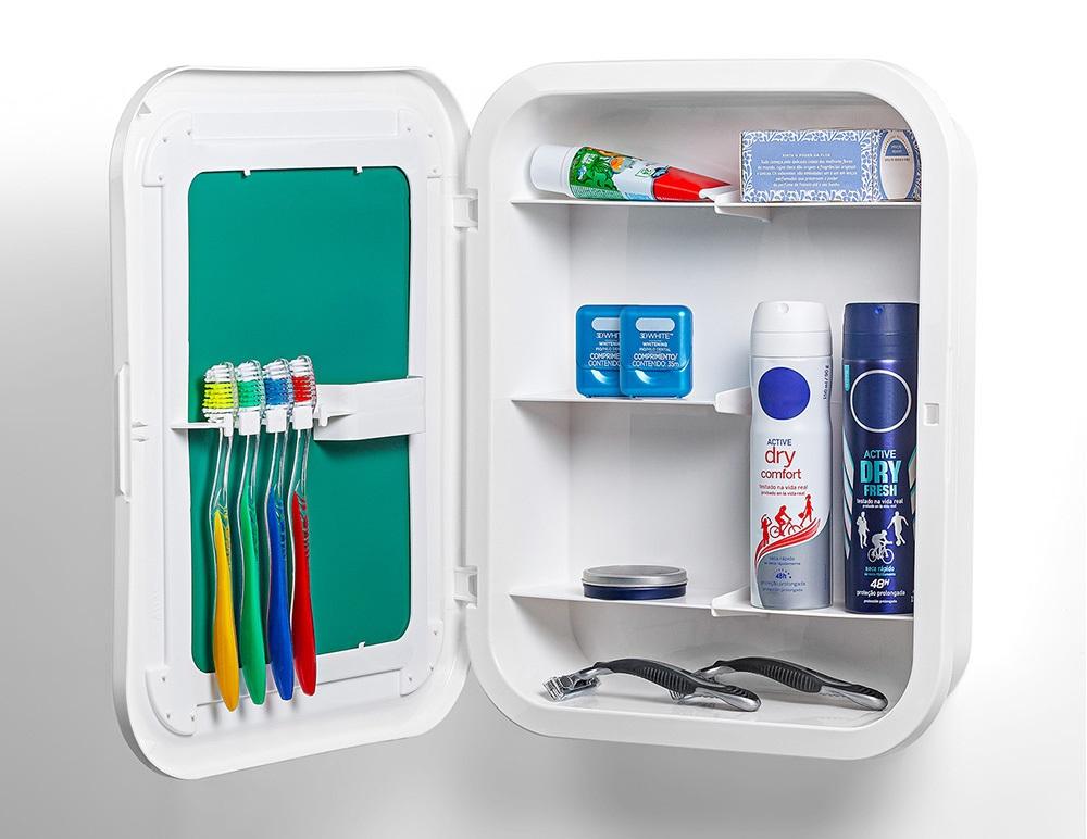 Armário de Plástico com Espelho Toalete - Branco