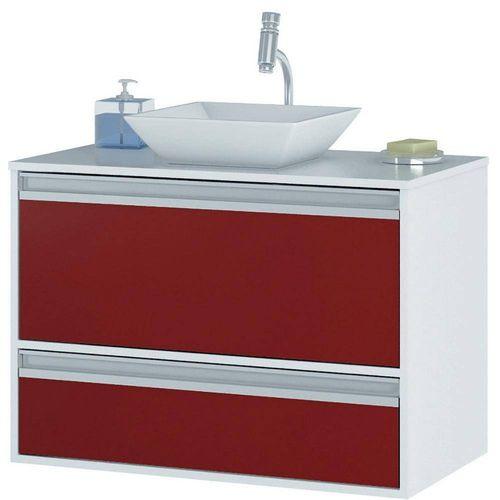 Armário Paris 66x80 - Branco/Vermelho