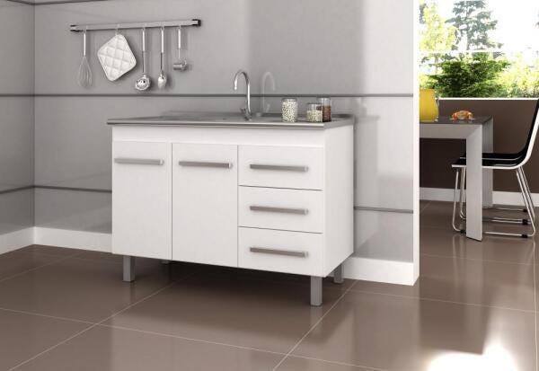 Bancada de Cozinha Omega 1140 Com Pé - Branco