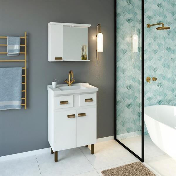 Conjunto Banheiro Com Pé New Fox 600 - Branco