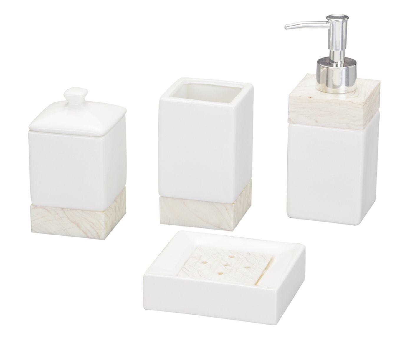 Conjunto Clear 4 Peças Cerâmica Para Banheiro