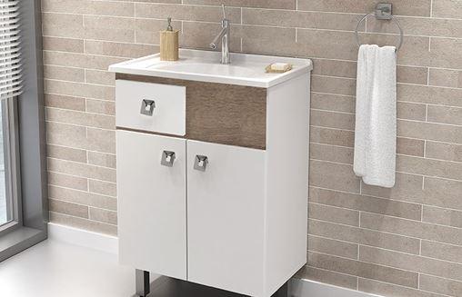 Conjunto Para Banheiro Essenza 600 Com Pés - Branco/Bronze