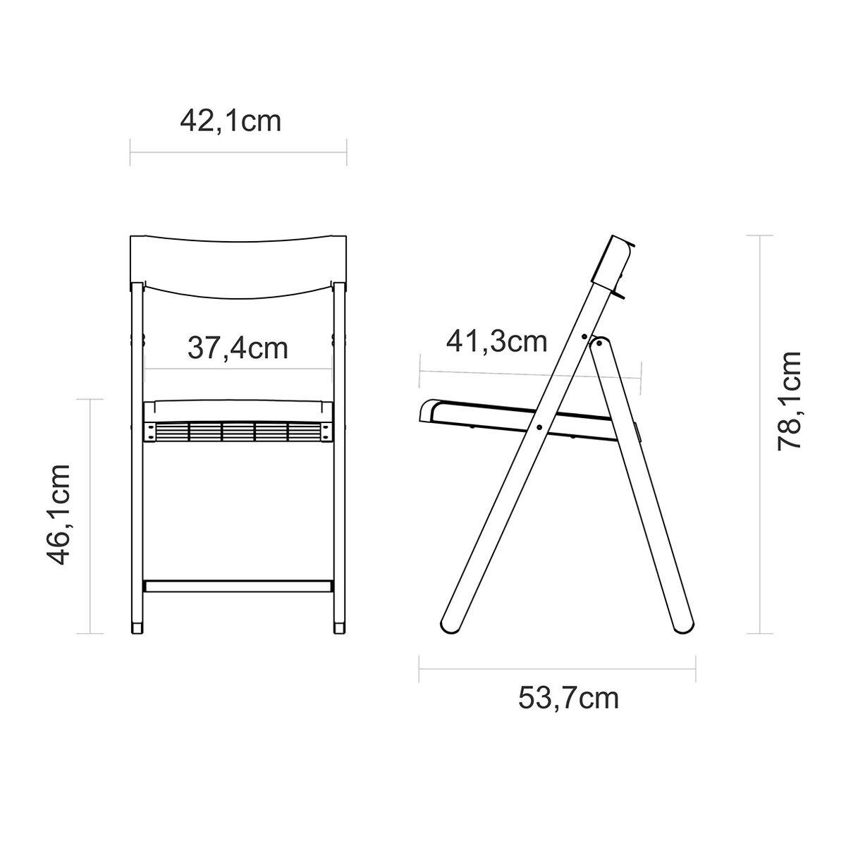 Conjunto Potenza Mesa e 4 Cadeiras Dobráveis Madeira e Polipropileno