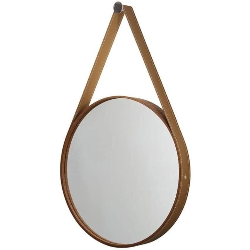 Espelho Redondo Moldura Mogno + Cinta De Couro