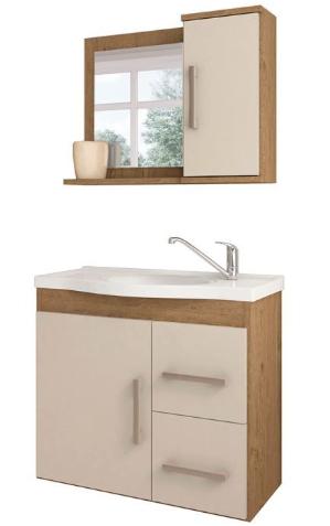Gabinete Com Espelheira Vix 57x64 - Amêndoa/Branco