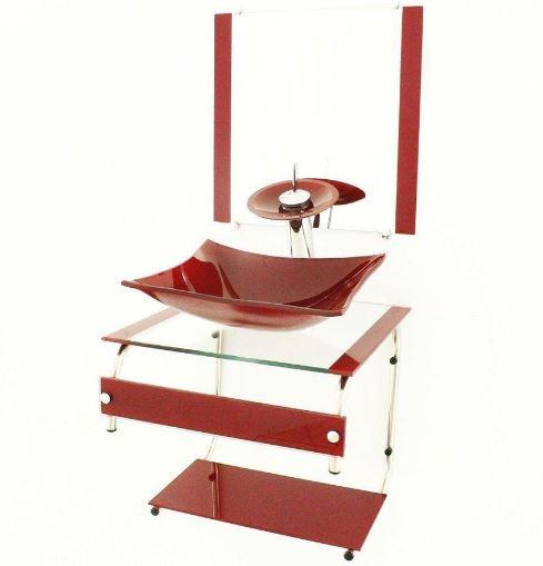 Gabinete de Vidro com Cuba Quadrada 45x45Cm - Vermelho Barroco