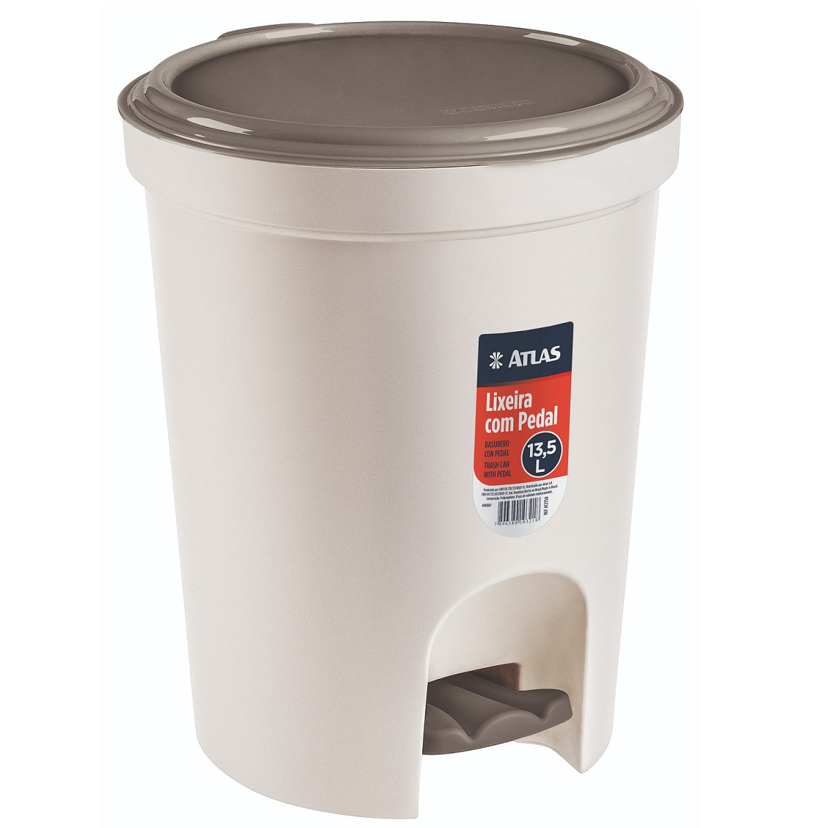 Lixeira Redonda Com Pedal Plástico 13,5l
