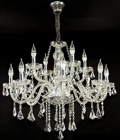 Lustre de Cristal 1189 12 Braços Transparente INATIVO