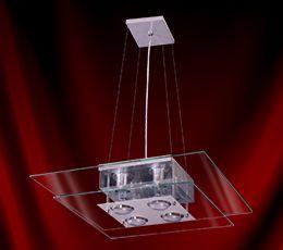 Lustre Pendente Ref: 113 50x50 Quadrado - Transparente INATIVO