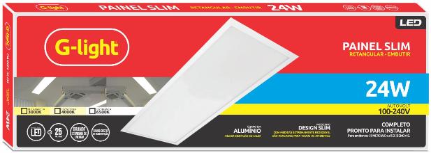 Painel Slim Led Retangular Sobrepor 24w 6500k