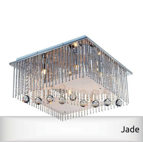 Plafon Cristal Jade 6xg9 Vidro/Aço Cromado