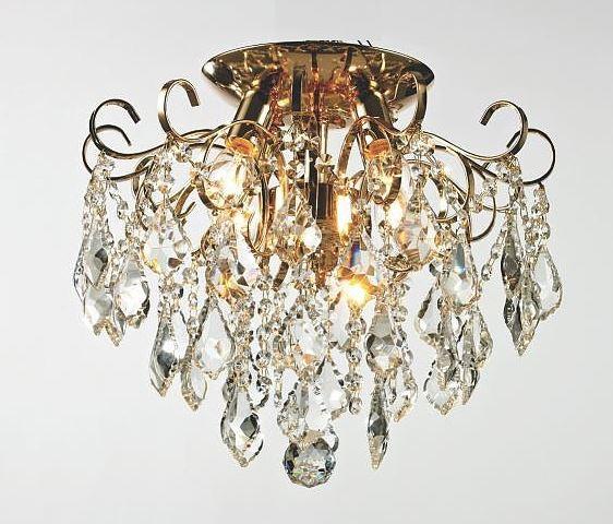 Plafon Malipiero Metal Dourado Com Cristais Transparente 3 Lâmpadas