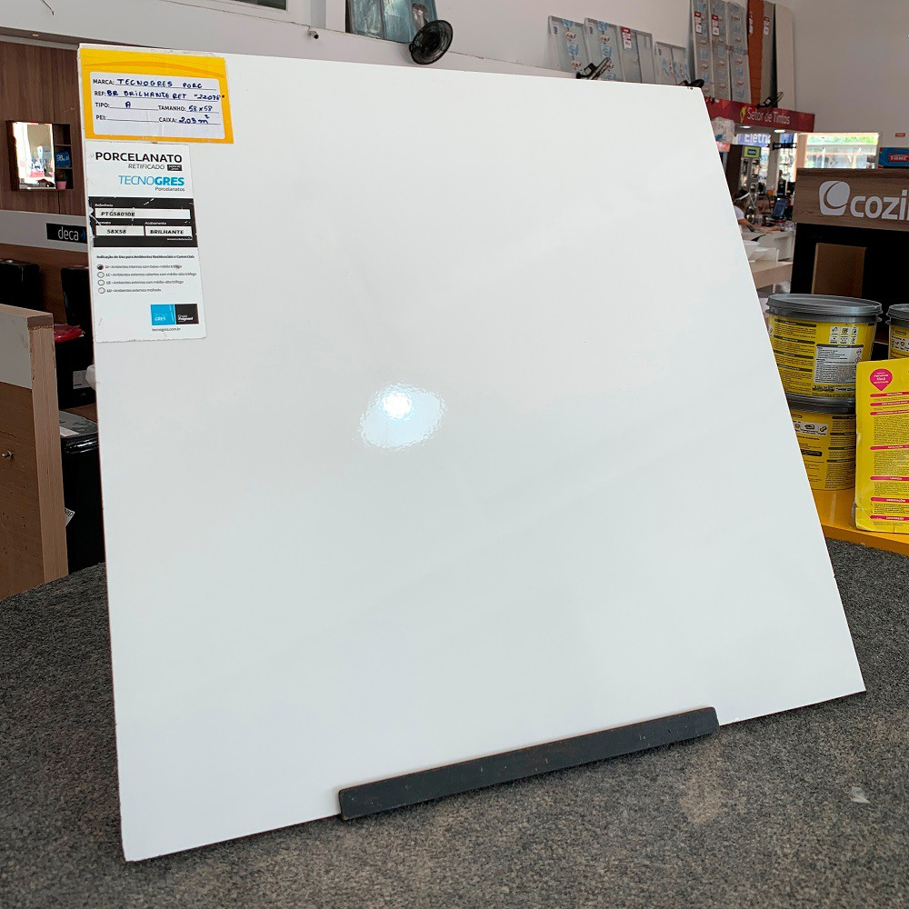 Porcelanato Brilhante 58x58 - Branco