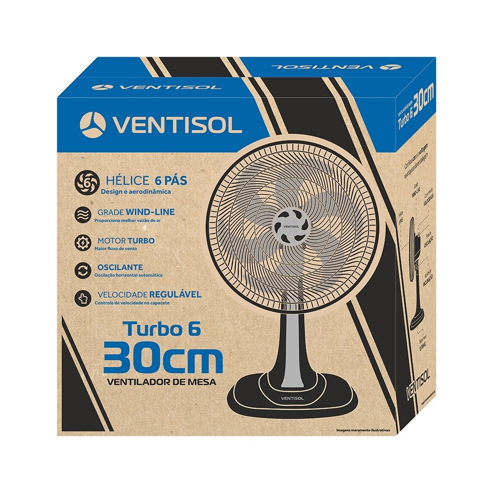 Ventilador Mesa Turbo 30cm 127V Preto