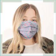 Máscara em tecido - pregas - Adulto - feminino
