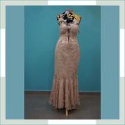 Vestido de festa creme bordado