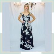 Vestido de festa preto floral longo I