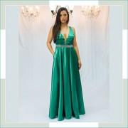 Vestido de festa verde cinto prata