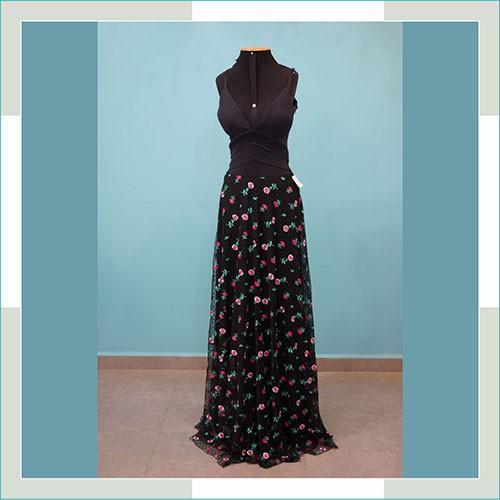 Vestido de festa preto saia flor  - FERRONI STORE ROUPAS E ACESSÓRIOS
