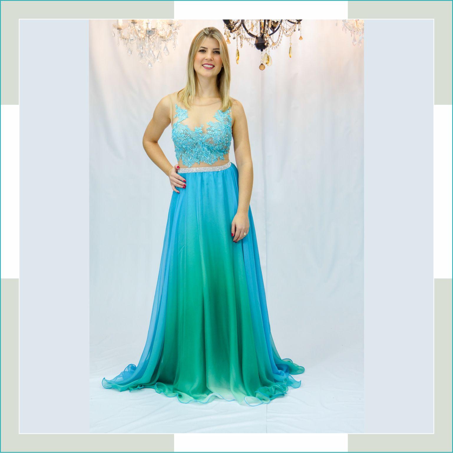 Vestido de festa azul e verde  - FERRONI STORE ROUPAS E ACESSÓRIOS