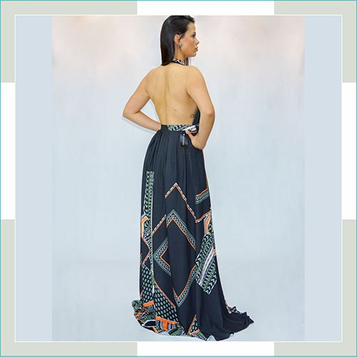 Vestido de festa geométrico  - FERRONI STORE ROUPAS E ACESSÓRIOS