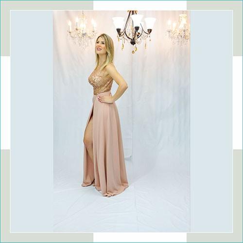 Vestido de festa nude bojo dourado  - FERRONI STORE ROUPAS E ACESSÓRIOS