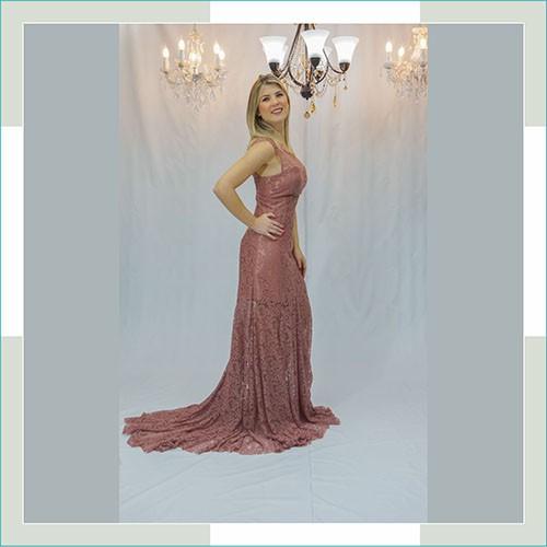 Vestido de festa nude cauda  - FERRONI STORE ROUPAS E ACESSÓRIOS