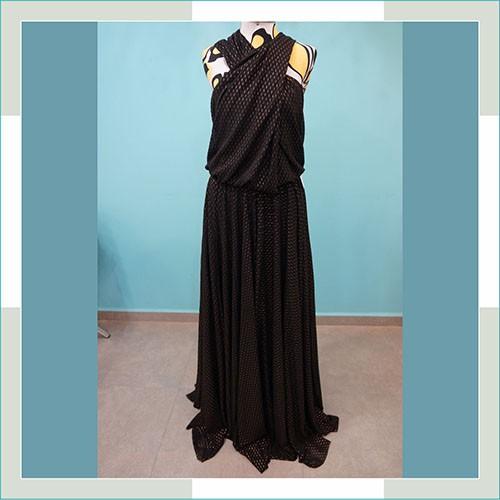 Vestido de festa preto com dourado  - FERRONI STORE ROUPAS E ACESSÓRIOS