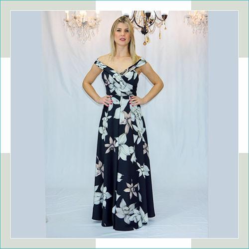 Vestido de festa preto floral longo I  - FERRONI STORE ROUPAS E ACESSÓRIOS