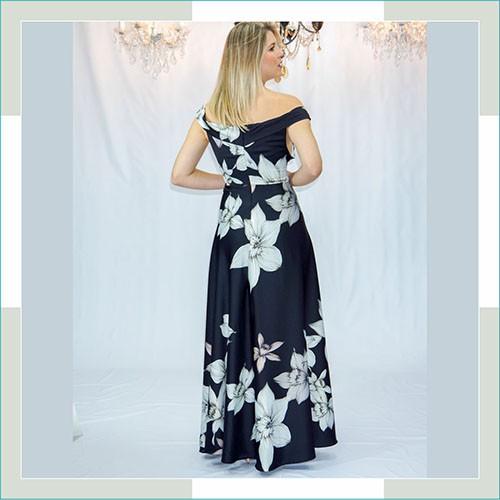 Vestido de festa preto floral longo II  - FERRONI STORE ROUPAS E ACESSÓRIOS