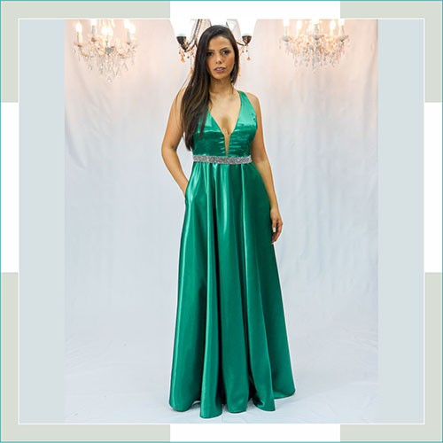 Vestido de festa verde cinto prata  - FERRONI STORE ROUPAS E ACESSÓRIOS