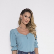89737 - Blusa Crepe Azul - Laura Rosa