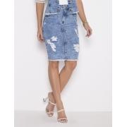 99720 - Saia Tradicional Jeans - Laura Rosa - 55cm