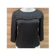 BLUSA MANGA 5/8 BASE CAFÉ MODA EVANGÉLICA EXECUTIVA EXCLUSIVA.