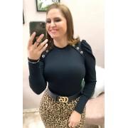 BORY EM MALHA CANELADA COM BOJO MANGA LONGA BUFANTE - BELLY MODA