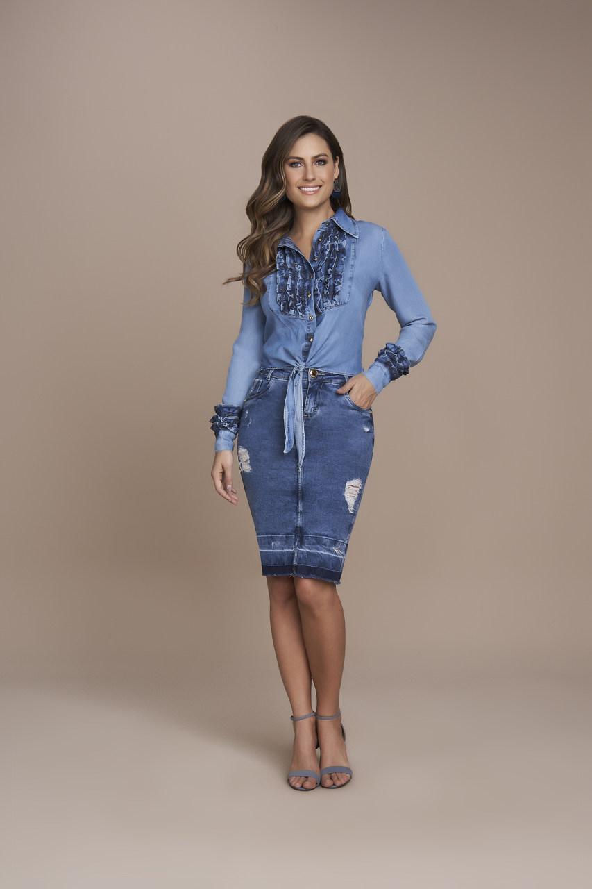 25350- Saia Tradicional Jeans
