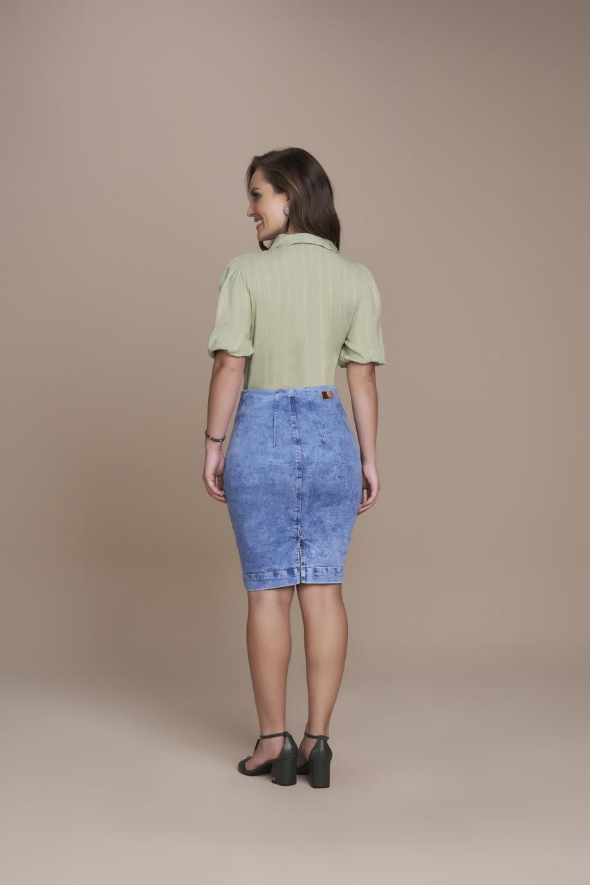 25484 Saia Viscose Lápis Jeans