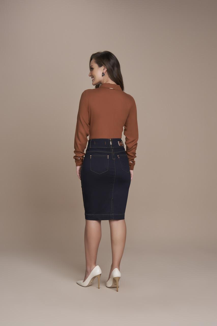 25495- Saia Reta Jeans