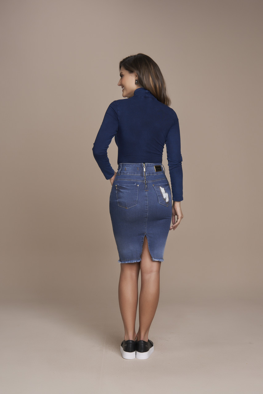 25496- Saia reta jeans