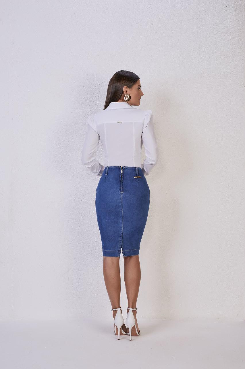 25552  Saia Lápis Jeans - Titanium Jeans - 62cm