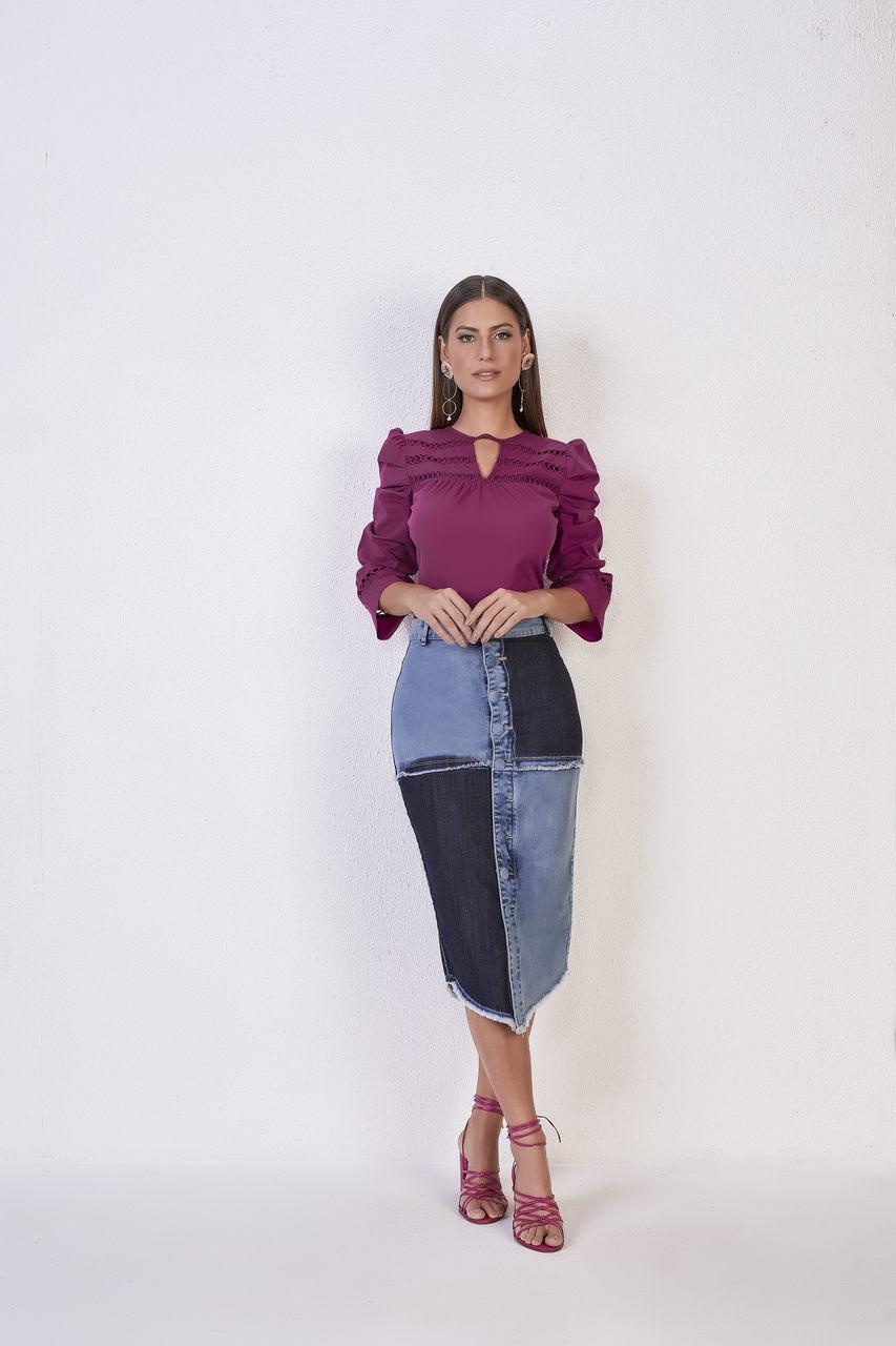 25615  Saia Lápis jeans - Titanium Jeans - 70cm