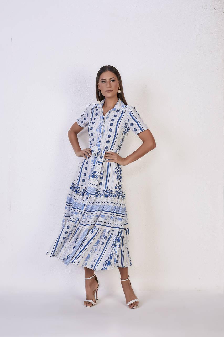 25647  Vestido Crepe Estampado - Titanium Jeans - 130cm